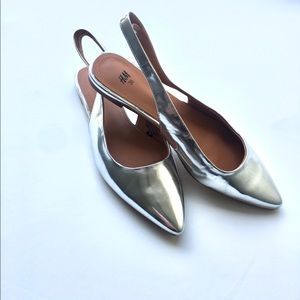 H&M | Silver Metallic Pointed Toe Strap Flats 7